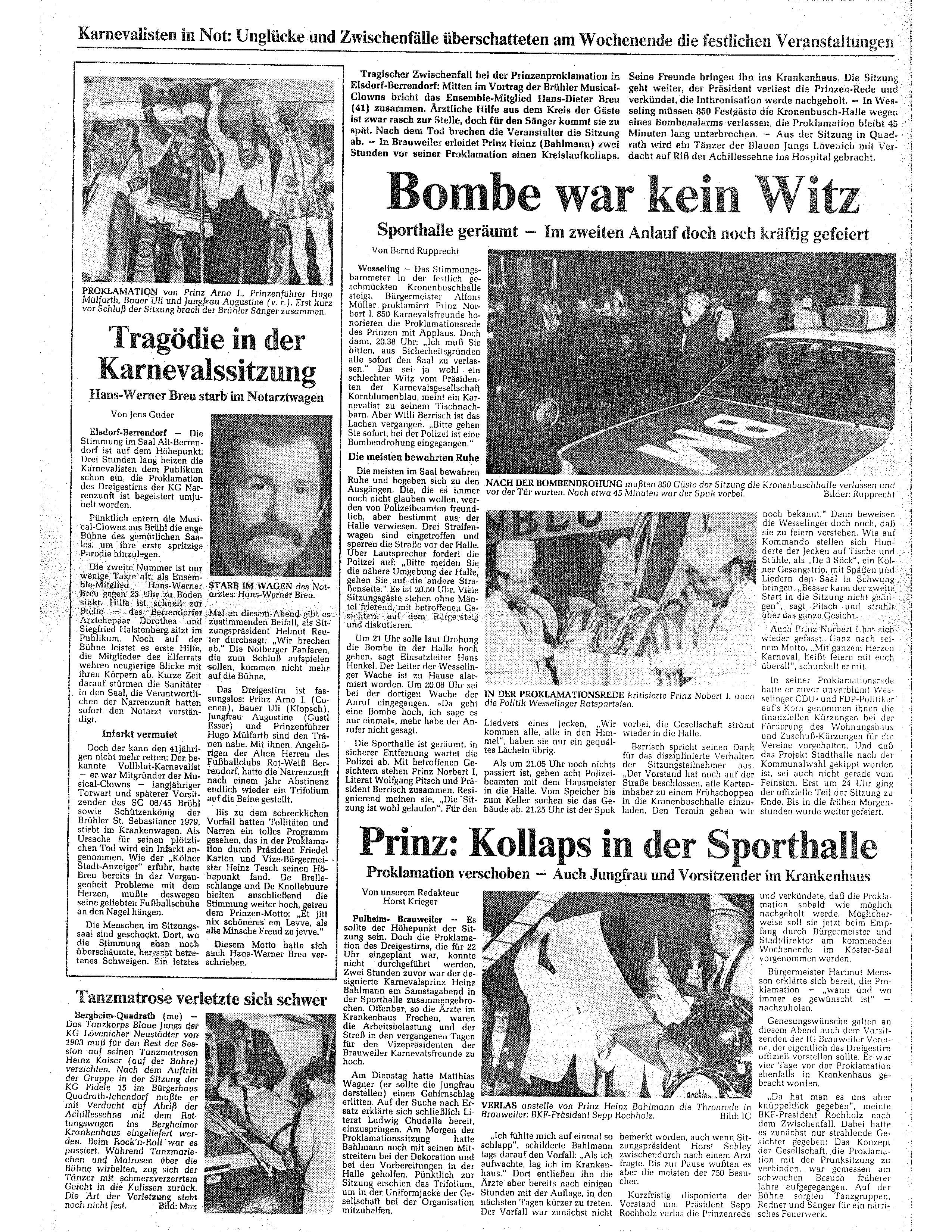 Kölner Stadtanzeiger, 15. Januar 1990